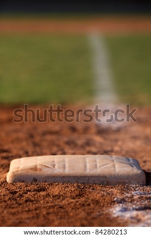 Baseball Base shot with shallow depth of field with home plate off in the distance
