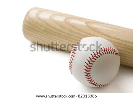 Baseball bat and baseball isolated on white background with clipping path.