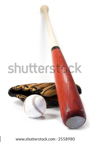 Baseball bat, ball and glove isolated against white