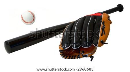 Baseball Bat, Glove and Ball Arrangement