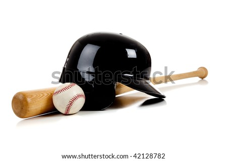 Baseball bat, helmet and a leather baseball on a white background