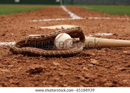 Baseball & Bat near Home Plate