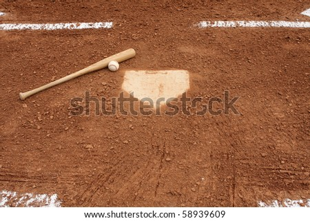 Baseball & Bat near home plate and the batters box