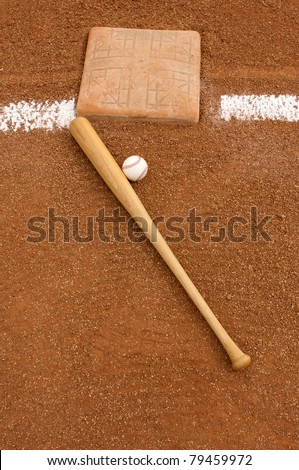 Baseball & Bat near Third Base