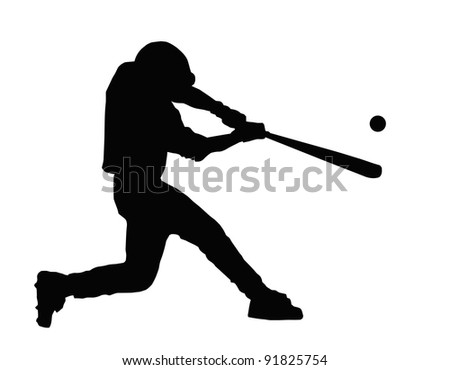 Baseball Batter Hitting Ball with Bat for Home Run