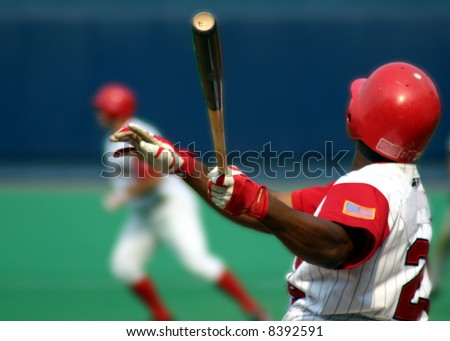 Baseball Batter swinging, close-up
