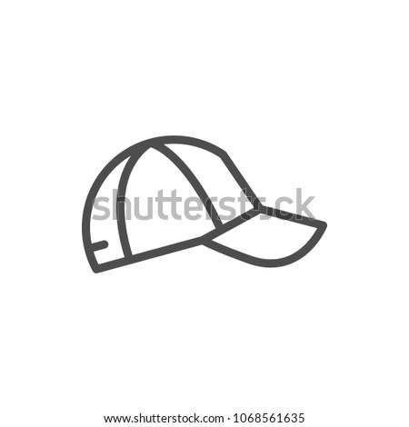 Baseball cap line icon isolated on white