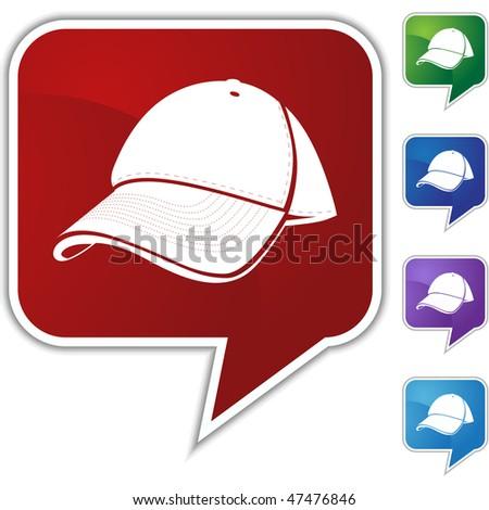 Baseball cap speech balloon icon set isolated on a white background.