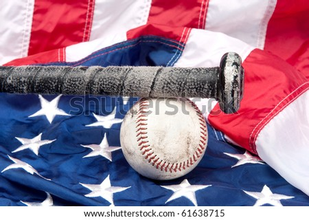 Baseball equipment including a bat and a baseball on an American flag.