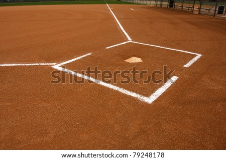 Baseball Field at Home Plate with chalk lines