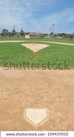 Baseball Field Home Base Pitcher Mound Blue Sky Day