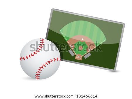 Baseball field tactic table, Baseball balls illustration design over white