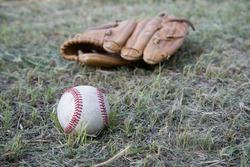 Baseball game. Baseball ball, baseball glove.