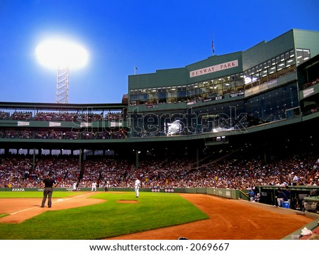 Baseball game in Fenway Park, Boston, Massachusetts