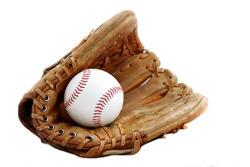 Baseball glove and ball isolated