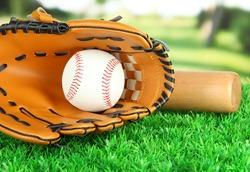 Baseball glove, bat and ball on grass in park