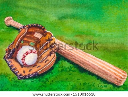 Baseball glove, bat and ball. Professional sport equipment.