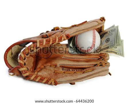 Baseball glove with ball and money inside