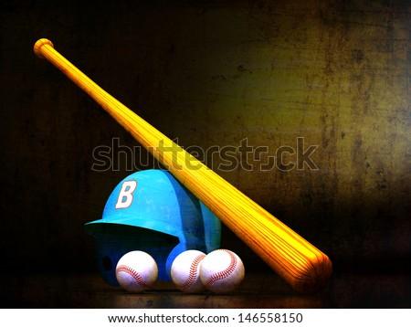 Baseball Helmet, Bat, Balls textured