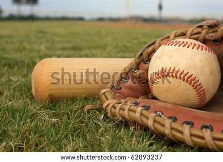 Baseball in a Glove with Bat