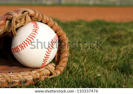 Baseball in a Glove with room for copy