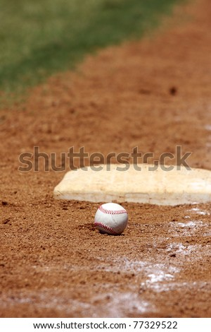 baseball in the dirt at thirdbase