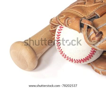 Baseball, mitt and bat on white
