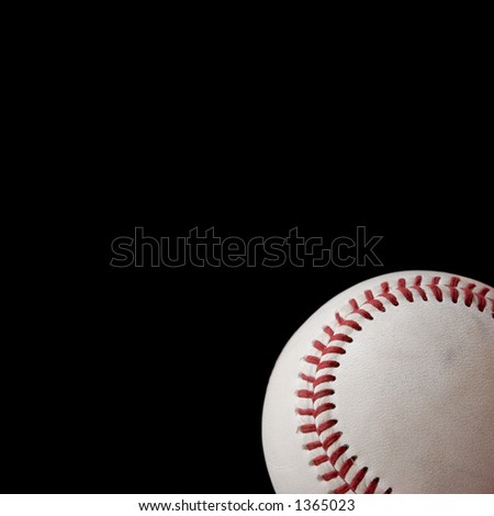 Baseball on black, space for copy