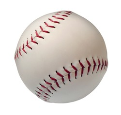 Baseball or Softball Isolated on a white background as an American cultural and traditional national pastime sport with a sphere made of white leather and red stitching.