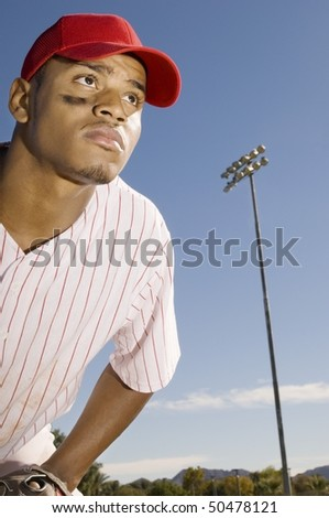 Baseball outfield player, (close-up)