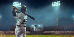 Baseball player bat the ball on professional baseball stadium