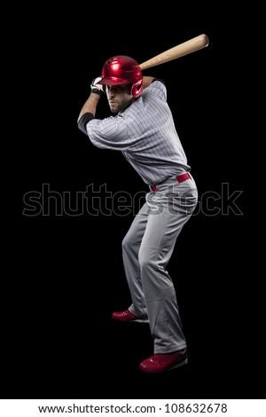 Baseball Player on a black background.