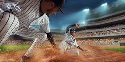 Baseball players on professional dramatic stadium. Baseball tagged out