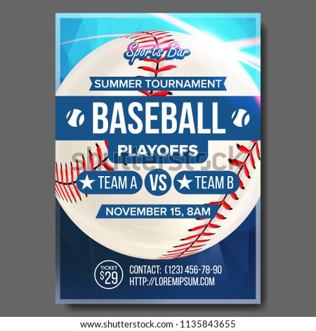 Baseball Poster. Sports Bar Event Announcement. Ball. Banner Advertising. Professional League. Event Template Illustration