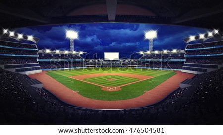baseball stadium under roof view with fans, sport theme 3D illustration