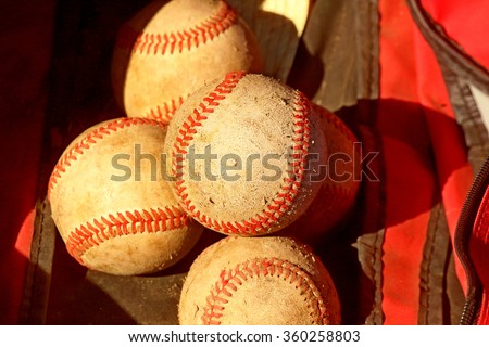 Baseball Used Ball Lie in a Sports Bag. Picture, Photo