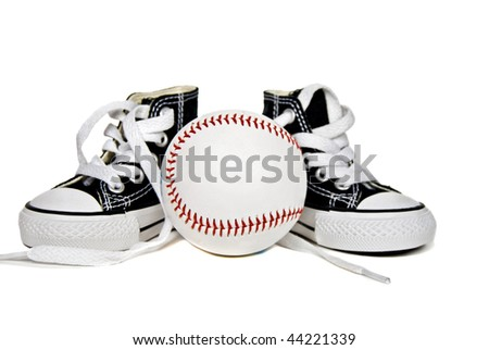 baseball with high top sneakers on white