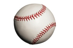 Baseball with seams showing on white background