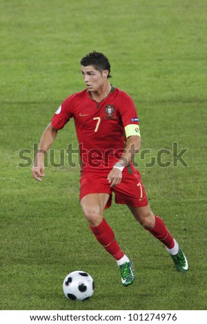 BASEL SWITZERLAND JUNE 19 Cristiano Ronaldo of Portugal in action during a UEFA Euro 2008 match against Germany June 19 2008 in Basel Switzerland Editorial use only.