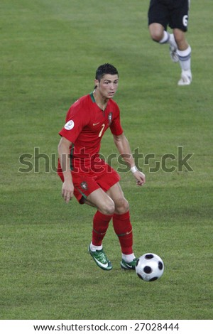 BASEL, SWITZERLAND - JUNE 19:  Cristiano Ronaldo of Portugal in action during a UEFA Euro 2008 quarterfinal match against Germany at St. Jakob Park June 19, 2008 in Basel, Switzerland. - stock photo