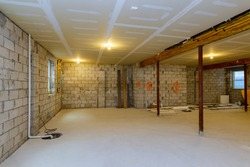 Basement renovation unfinished interior frame of a new house under construction selected focus