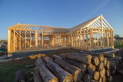 Basic construction of a wooden building for a passive house.