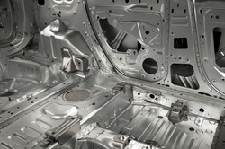 Basic interior skeleton of a car with different metal parts