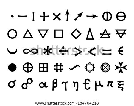 Basic Signs, Fundamental Elements and Mathematical Symbols (Mystique Symbols set) -- This JPEG-file has a EPS-8 copy in my portfolio. #184704218