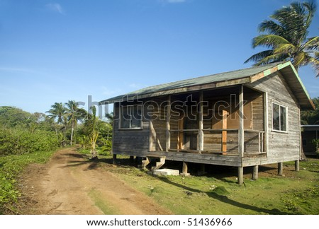 basic simple beach house cabana in jungle big corn island nicaragua central america