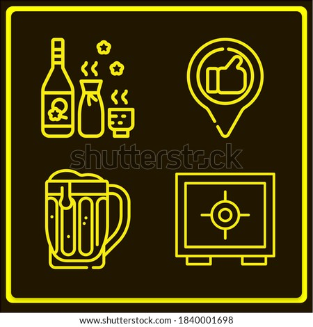 Basic simple modern set of 4 good lineal icons such as safe, best, beer Stockfoto ©