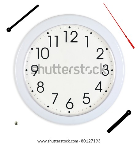 Basic White Wall Clock with Hands Separated