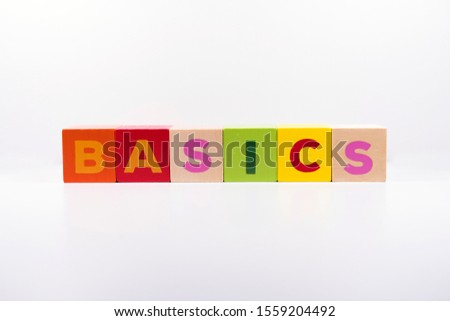 BASICS word made with building colored blocks