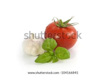 Basil, garlic, tomato