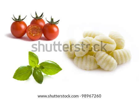 basil leaves, cherry tomatoes and gnocchi isolated